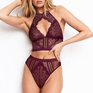 Lace and Mesh High Neck Bra